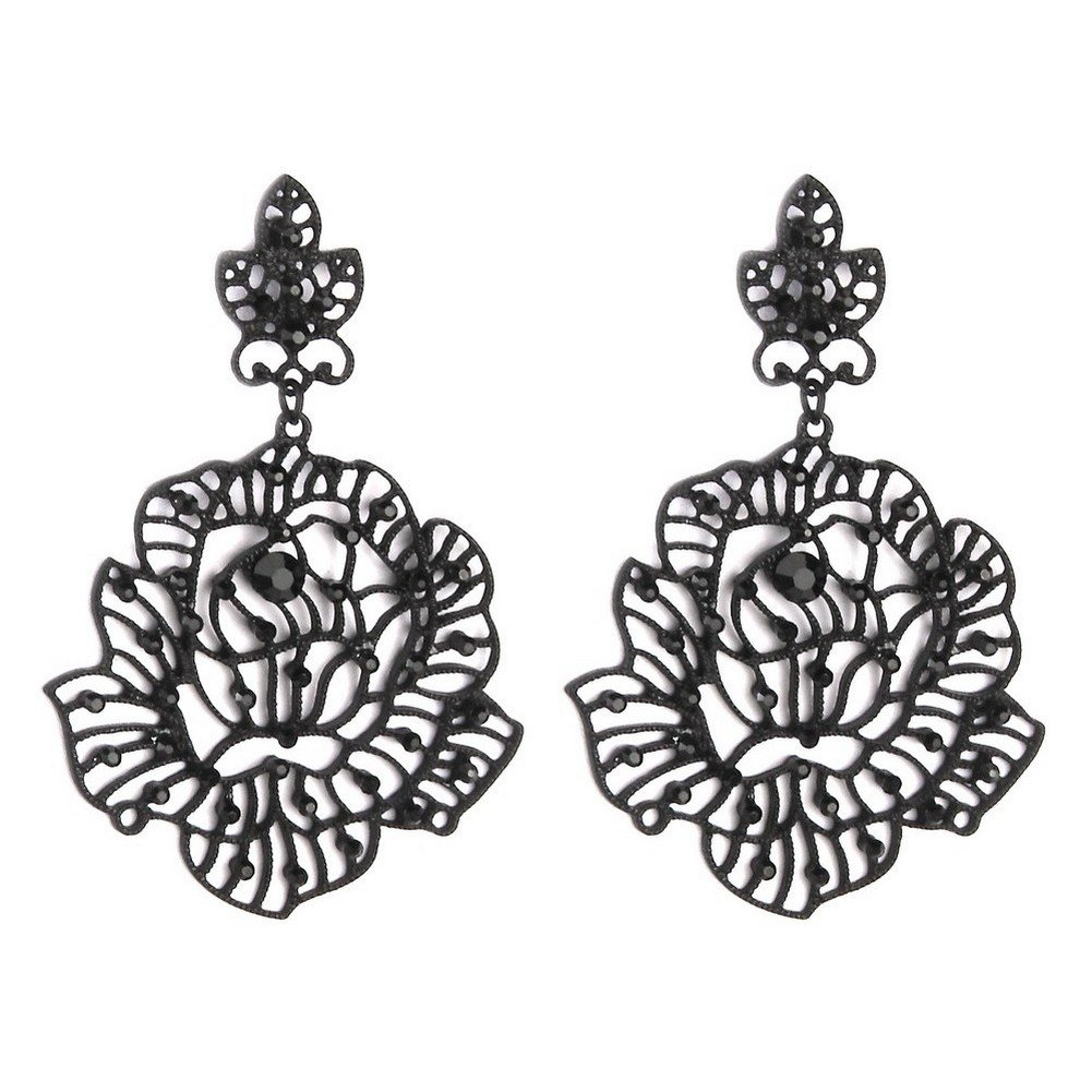 Stud /& Drop Earring Lace Flower Black 75mm Made With Tin Alloy /& Crystal Glass by JOE COOL