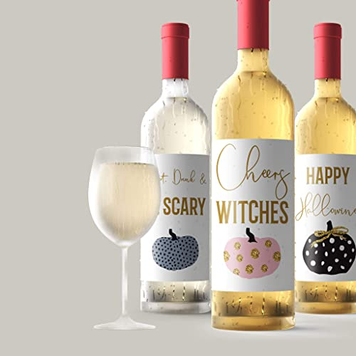 Amazon Com Halloween Wine Labels Happy Hallowine 4 Funny Halloween Party Decor Cheers Witches Brew Eat Drink Be Scary Witch S Brew Pumpkins Decorations Wine Bottle Labels Decor Made In Usa Handmade