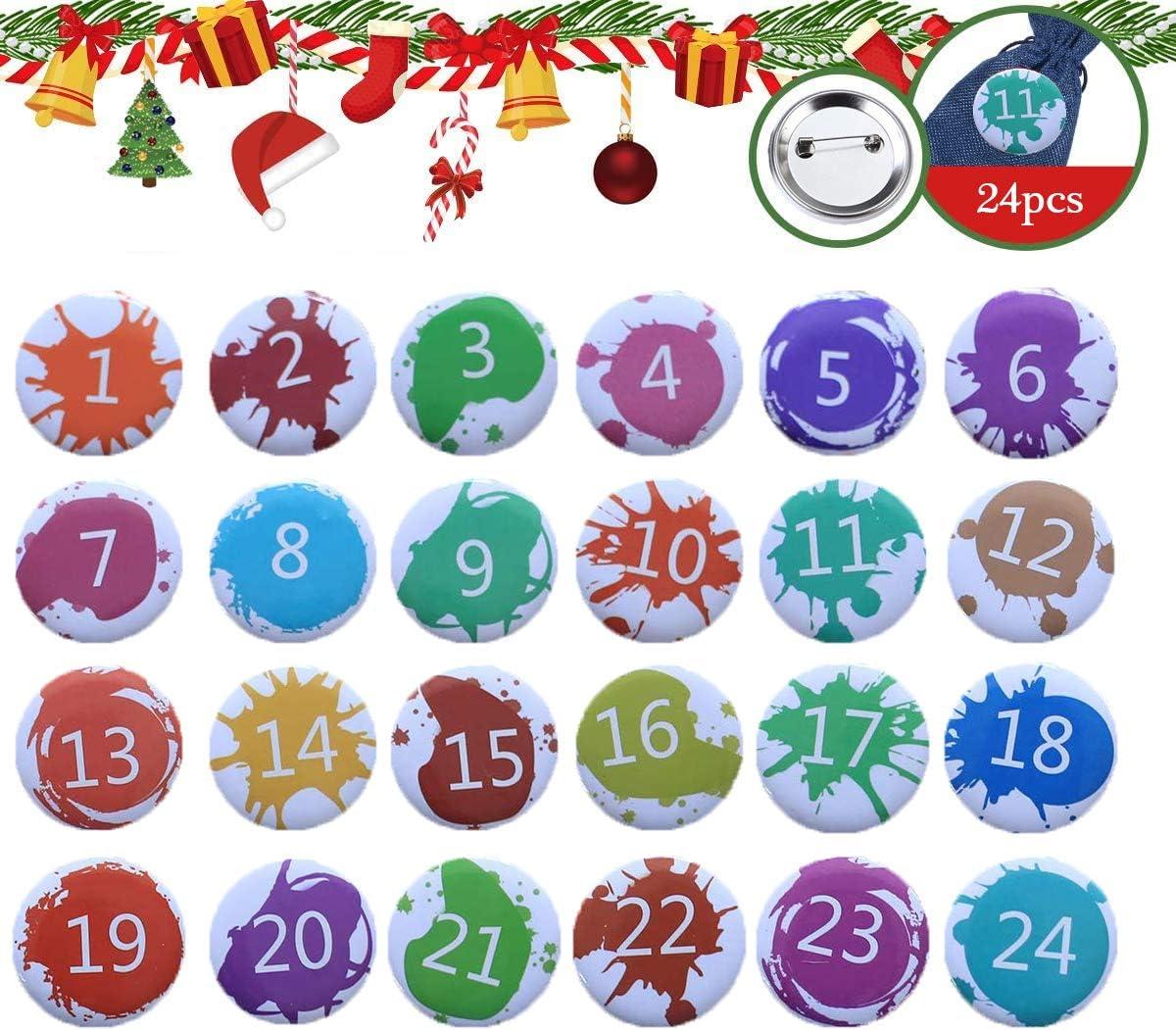 HIQE-FL Advent Calendar Numbers Buttons,Advent Calendar Buttons,Christmas Advent Calendar Numbers,24 Advent Calendar,Countdown Christmas,Diy Christmas Calendar A