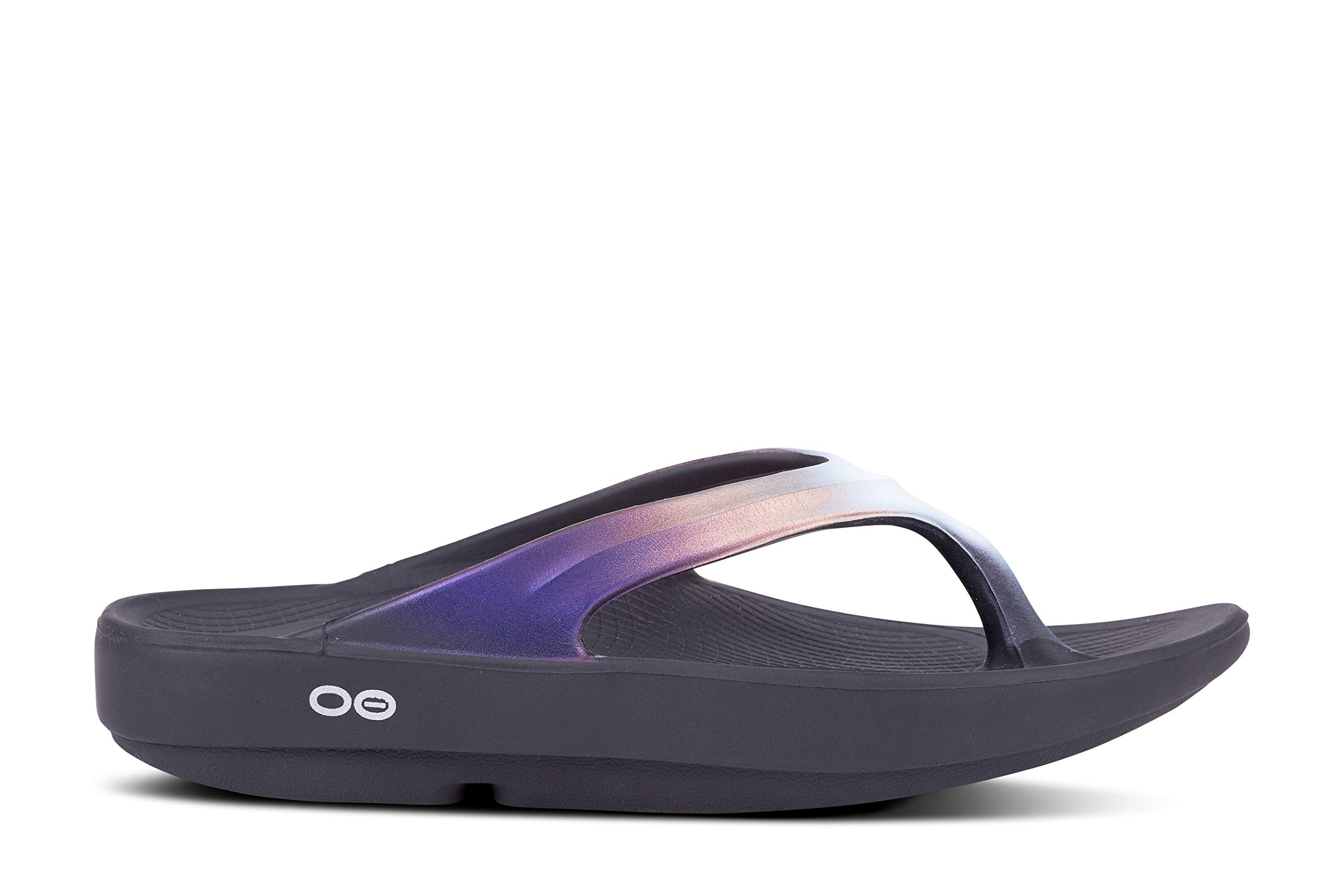 OOFOS - Women's OOlala Satin - Post Run Sports Recovery Thong Sandal - Black/Calypso - W8