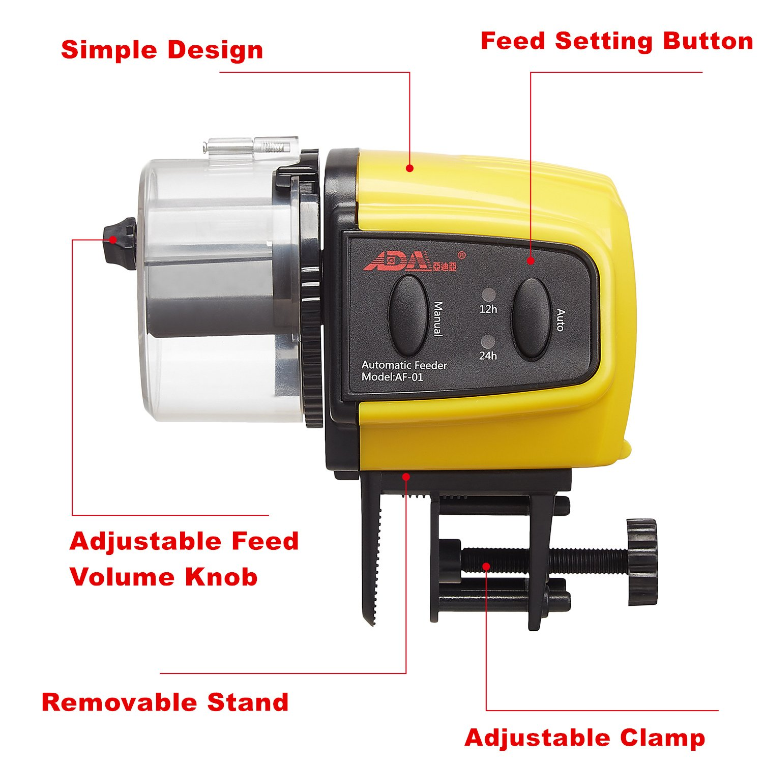 ADA Automatic Fish Feeder Aquarium Tank Auto Fish Food Timer Capacity Adjustable for Business Trip/Travel/Urgent Business (Batteries Included) by Add On Accessories (Image #3)
