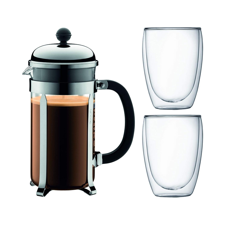 1.0 l CHAMBORD SET K1928-16-1 Cafeti/ère /à piston 8 tasses 0.35 l BODUM 2 verres double paroi PAVINA