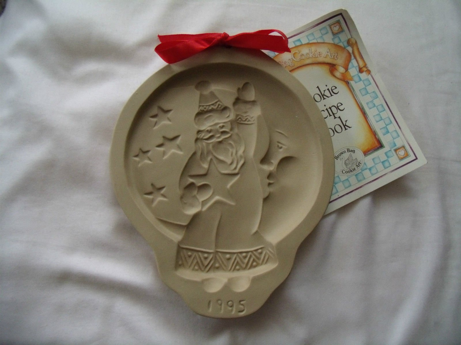Brown Bag 1995 Santa in the Moon Cookie Mold - New - Recipe Booklet