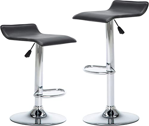 NOBPEINT Contemporary Chrome Air Lift Adjustable Swivel Bar Stool