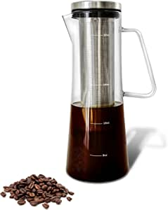 Cold Brew Iced Coffee Maker and Tea Infuser with Spout | Brocca by Bassani | 1.0L/32oz Glass Carafe with Stainless Steel Removable and Reusable Filter