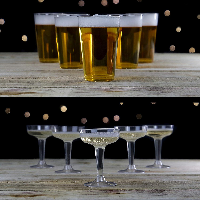 Fiesta de beber pong | Juego de fiesta Prosecco & Beer Kit | 12 Cervezas y 12 Vasos Prosecco | Cerveza Pong Kit | Pukkr: Amazon.es: Juguetes y juegos