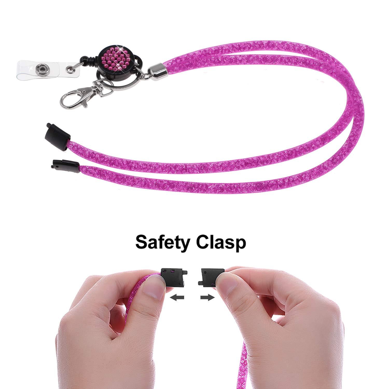 Viola SAVORI 32,9Bling Crystal cinturino di sicurezza staccabile con fibbia di sicurezza con portamonete a scomparsa Porta tessere per tesserino identificativo 1 confezione