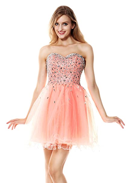 018ae4a06fe Charmian Women s Fancy Pearl Pink A-line Sweetheart-Neck Mesh Short Prom  Wedding Party