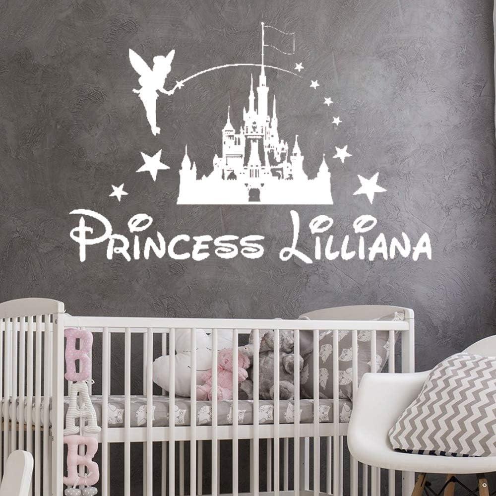 Geiqianjiumai Princesa Castillo Chica Guardería Personalidad Etiqueta de la Pared Nombre Etiqueta de la habitación de los niños Estrella Etiqueta de Cuento de Hadas Blanco 104x70cm