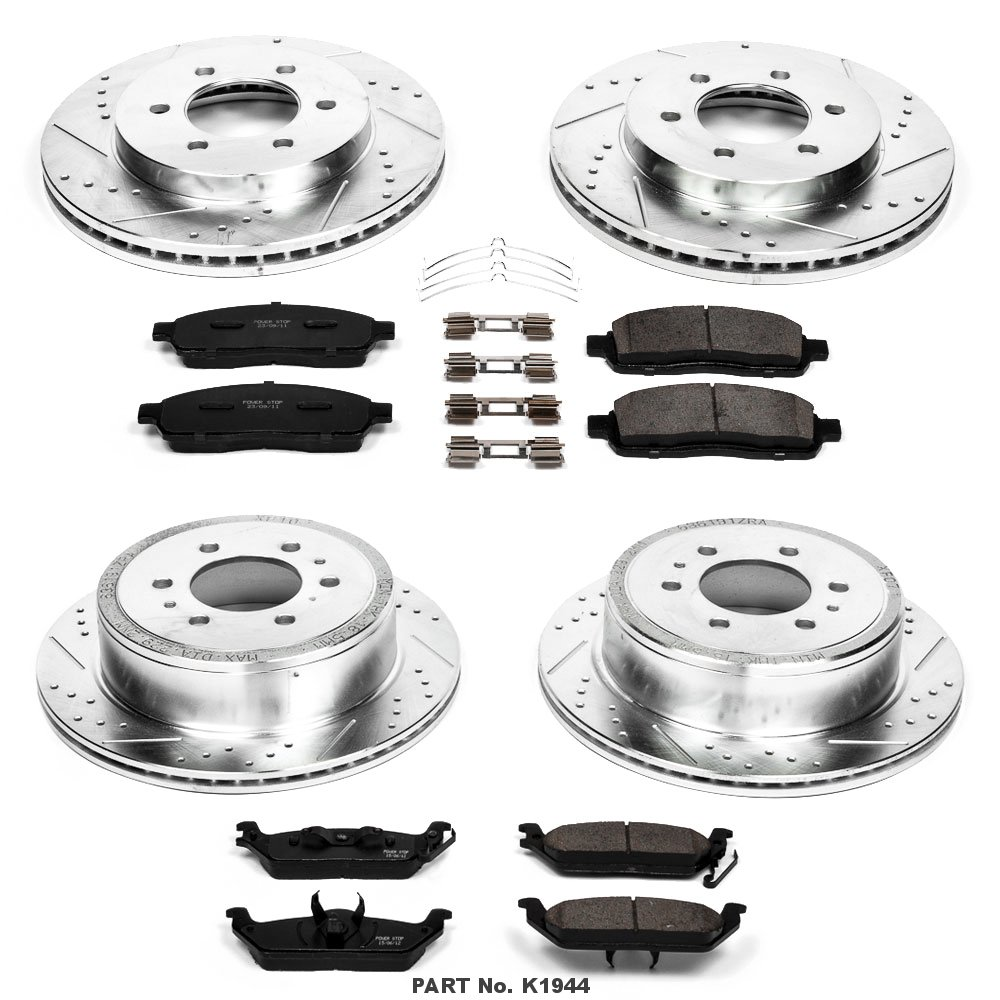 Power Stop K1944 Front And Rear Z23 Evolution Brake Kit With Drilled Photos Mazda Tribute Drum Component Part Diagram Car Parts Slotted Rotors Ceramic Pads Kits Automotive Tibs