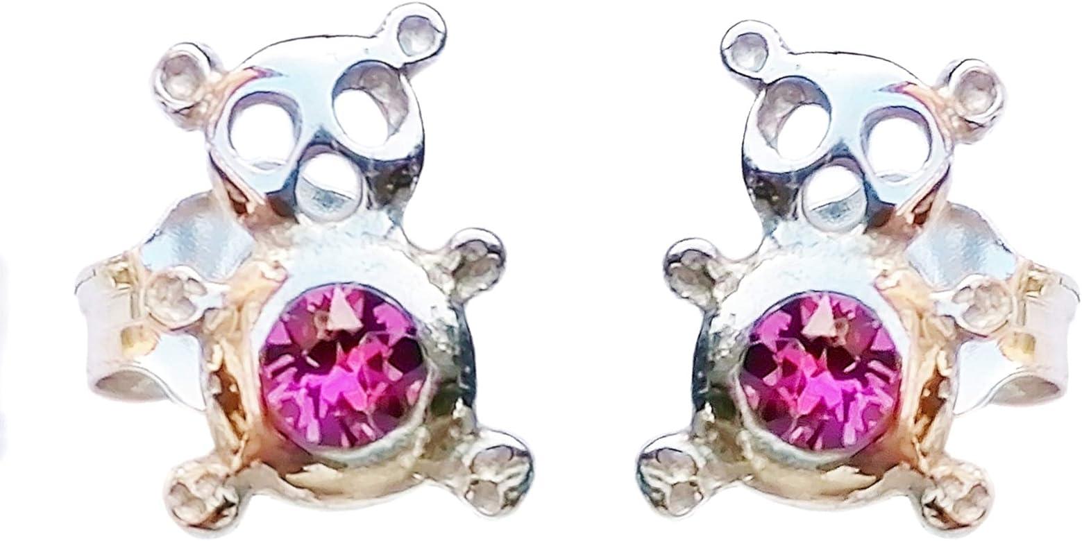 Pendientes de Ositos de Plata de Ley 925 (rodiada, antialérgica) Con Cristales de Swarovski. Incluye bolsita de terciopelo para regalo. [Hecho en Córdoba, España]: Amazon.es: Joyería