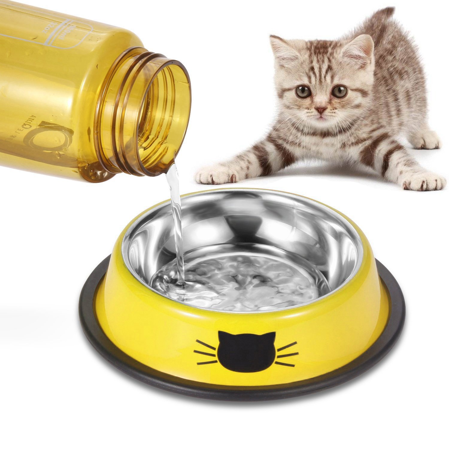 Comsmart Stainless Steel Pet Cat Bowl Kitten Puppy Dish Bowl with Cute Cats Painted Non-Skid for Small Dogs Cats Animals (Set of 2) (Yellow/Yellow) by Comsmart (Image #7)