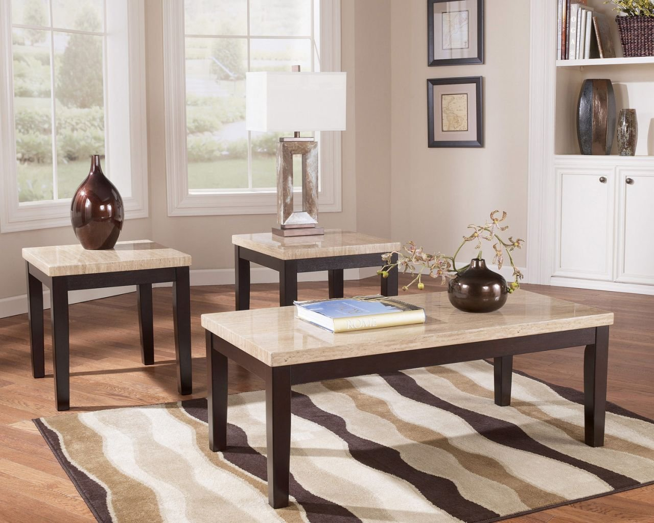 Amazon.com: Faux Travertine 3 In 1 Occasional Table Set: Kitchen U0026 Dining