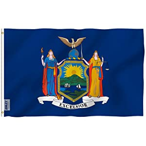 Anley Fly Breeze 3x5 Foot New York State Flag - Vivid Color and UV Fade Resistant - Canvas Header and Double Stitched - New Yorker NY Flags Polyester with Brass Grommets 3 X 5 Foot