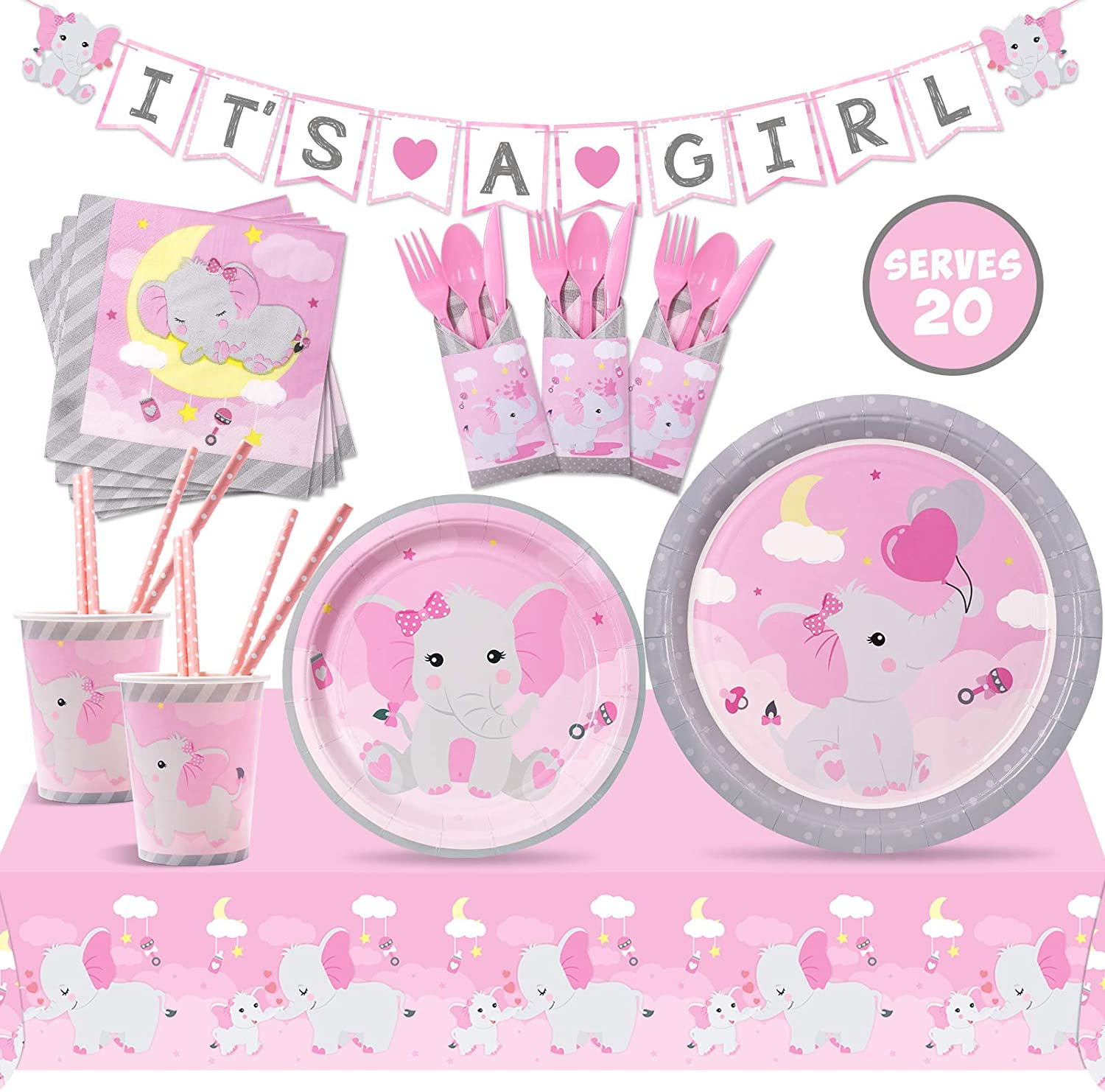 Pink Elephant IT'S A Girl Party Tableware Supplies Pink and Gray Baby Shower Dinnerware Including Banner, Plates, Cups, Cutlery Set Serves 20 Guests for Pink Little Peanut Kids Birthday Decor