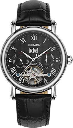 BINKADA Automatic Mechanical Tourbillon Black Dial Mens Watch #800602-2