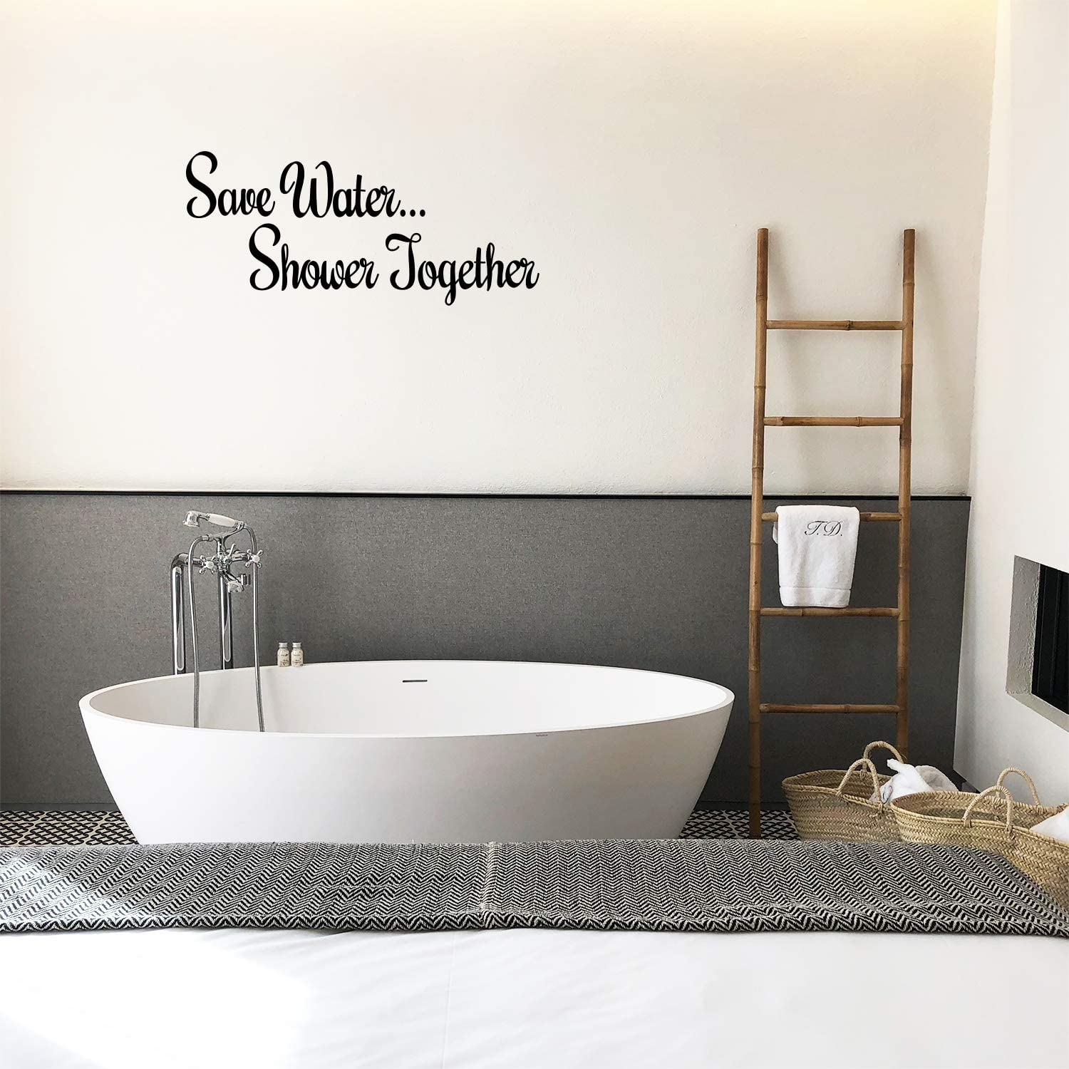 """Vinyl Wall Art Decal - Save Water Shower Together - 11"""" x 25"""" - Modern Chic Witty Adult Humor Home Living Room Bedroom Bathroom Sticker Decoration - Funny Couples Household Peel and Stick Adhesive"""