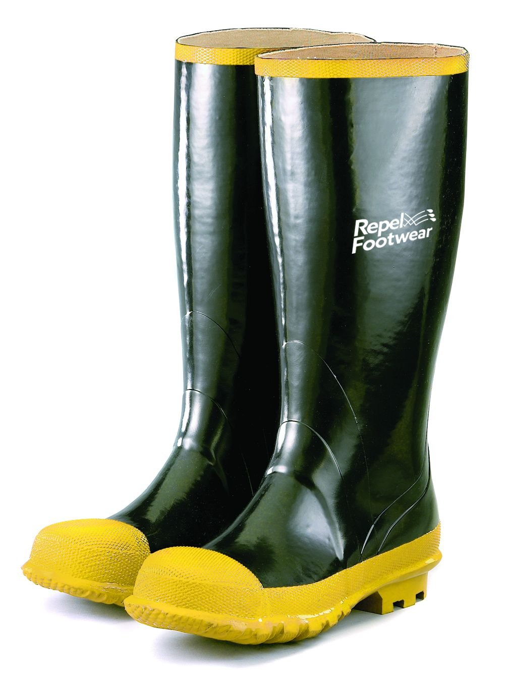 Galeton 7920-14 Repel Footwear Steel Toe Boots with No-Clip Treads, Men's Size 14, Black/Yellow