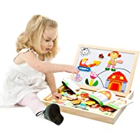 Emob 100 Pieces Wooden Kids Toy Magnetic Board Puzzle Games, Satu Brown Multifunction Double Sided Jigsaw Drawing Sketchpad Writing Chalkboard Educational Toys