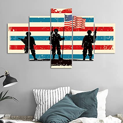 Yatsen Bridge Modern Large Wall Art 5 Panels Silhouette Troops on American Flag Background Painting Modern