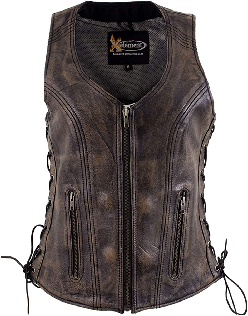 Xelement XS3900 Bella Ladies Distress Brown Leather Vest with Side Adjustable Laces and Front Zipper Closure