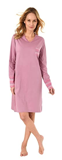 NORMANN W/ÄSCHEFABRIK Elegantes Damen Nachthemd Langarm mit B/ündchen auch in /Übergr/össen bis 60//62