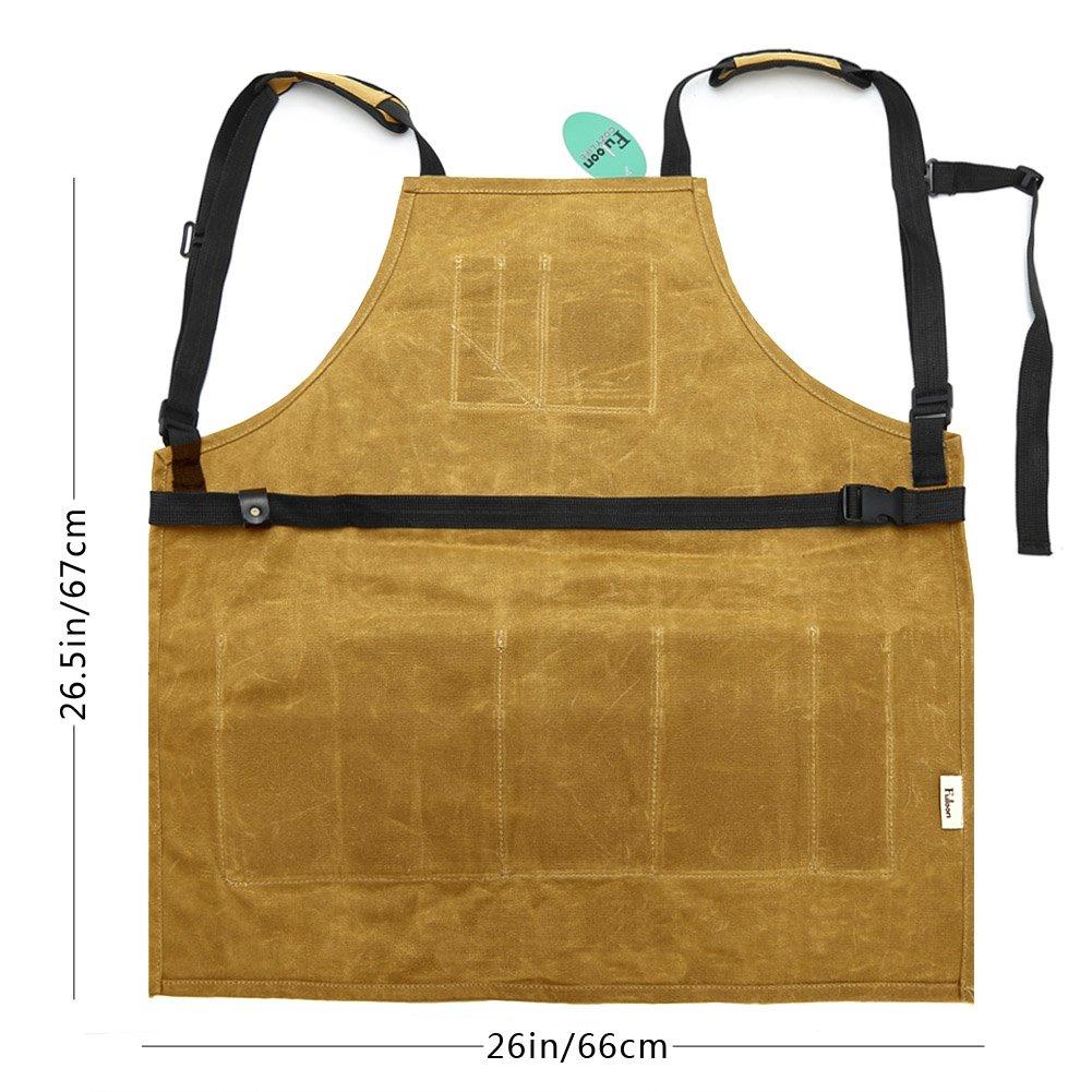 Fuloon Delantal para herramientas a prueba de agua, lienzo encerado de alta resistencia para el BBQ DIY: Amazon.es: Industria, empresas y ciencia