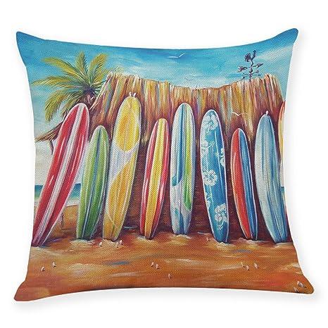 LEEDY Fundas de Almohada Playa, Paisaje, Funda de cojín, decoración para el hogar, sofá, Coche, Dormitorio, 45,7 x 45,7 cm, B, Medium