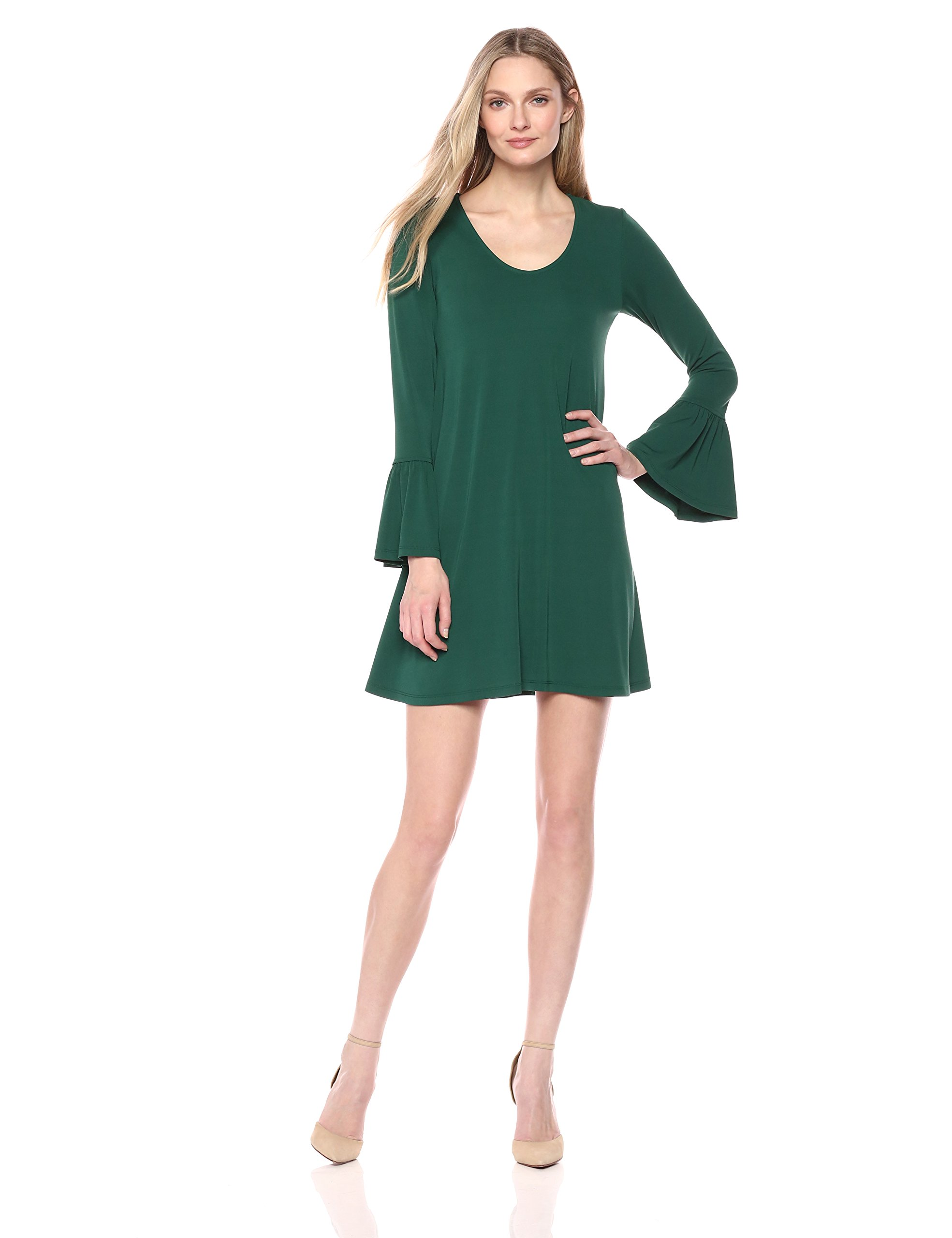 Karen Kane Women's Bell Sleeve Dress, Emerald, M