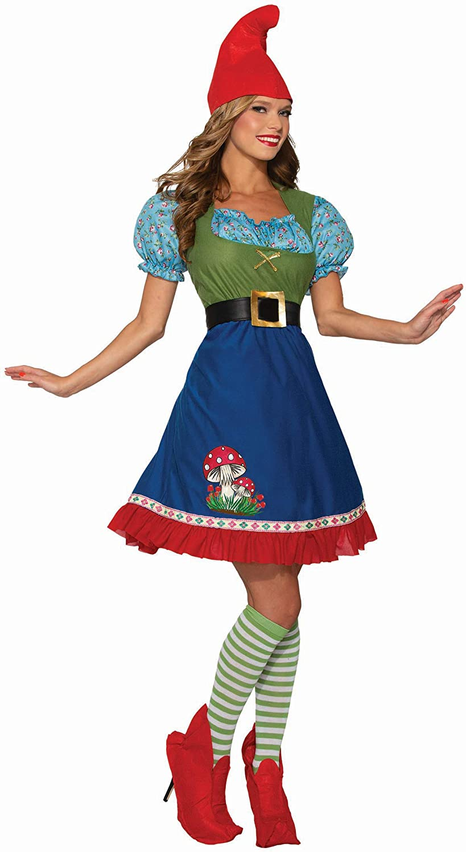 Flora The Garden Gnome Costume Fancy Dress Mushroom Womens Halloween SM-LG