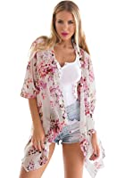 LookbookStore Women's 3/4 Sleeves Floral Print Open Front Kimono Cardigan Blouses