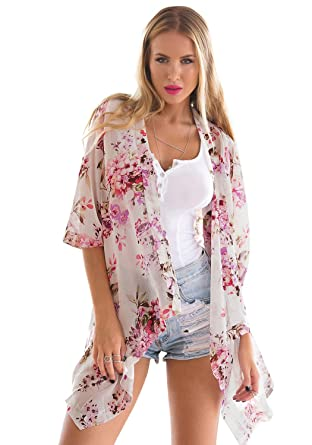 LookbookStore Women's 3/4 Sleeves Floral Print Open Front Kimono ...