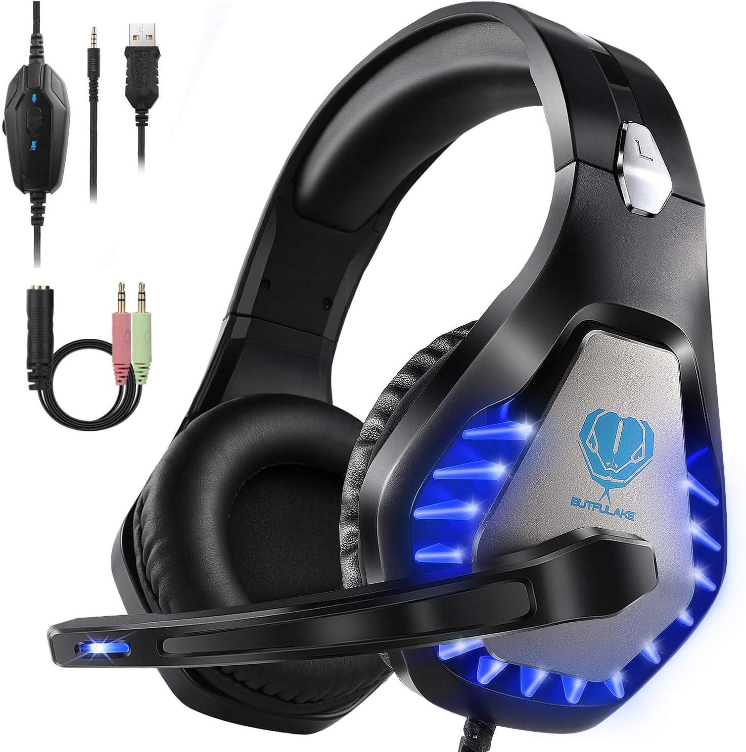HeysTop Auriculares Gaming para PS4 PC, 3.5mm Cascos Ruido Reducción de Diademas Cerrados Profesional con Micrófono Limpio Sonido
