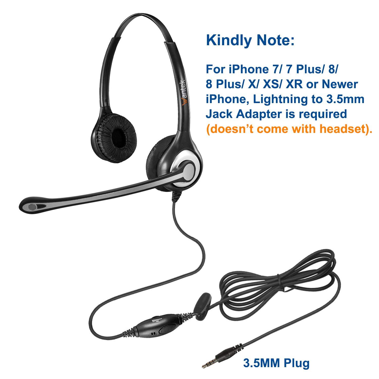 Kabelgebunden Smartphone Kopfh/örer mit Noise Cancelling Mikrofon und Lautst/ärkeregler F/ür iPhone Samsung Galaxy Huawei BlackBerry ZTE HTC Mac Laptop Skype B602M1 Wantek 3,5mm Headset Handy Binaural