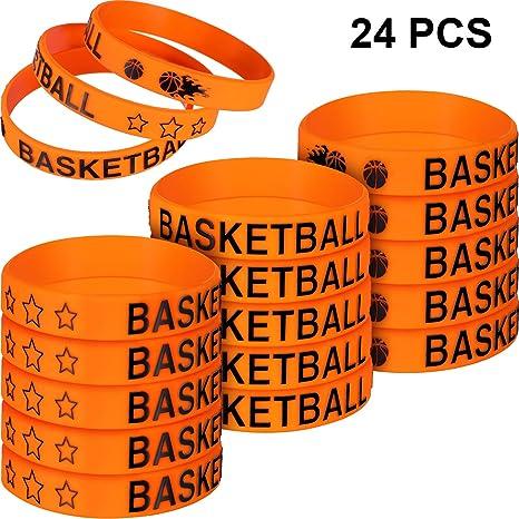 Norme 24 Piezas de Pulseras de Silicona de Baloncesto para niños ...