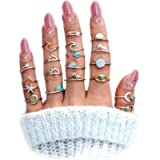 FUTIMELY Boho Retro Stackable Rings Sets for Teen Girls Women,Peak Sea Wave Compass Turquoise Rhinestone Knuckle Joint…