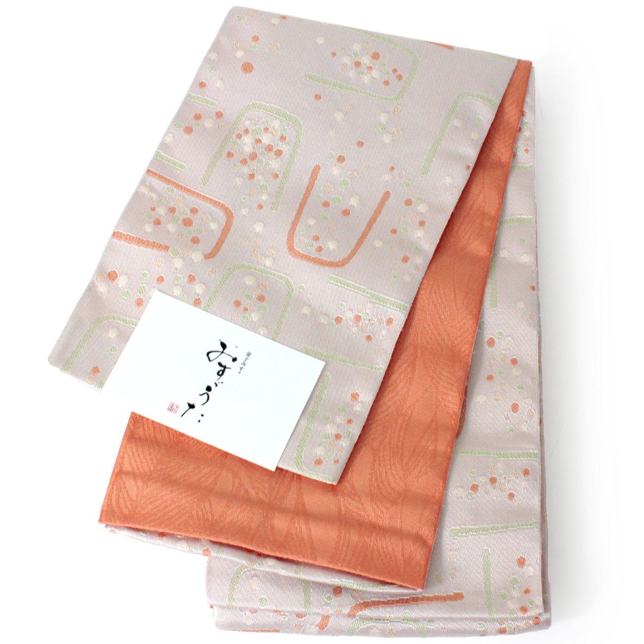 きもの京小町 帯 レディース 単品 みすゞ 半幅帯 浴衣 リバーシブル 長尺 金子みすゞ B07DMWX8PH オレンジグリーンドット水玉 オレンジグリーンドット水玉