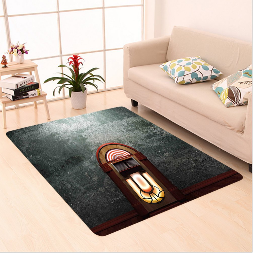 Nalahome Custom carpet box Scary Movie Theme Old Abandoned Home with Antique Old Music Box Image Petrol Green and Brown area rugs for Living Dining Room Bedroom Hallway Office Carpet (5' X 8')