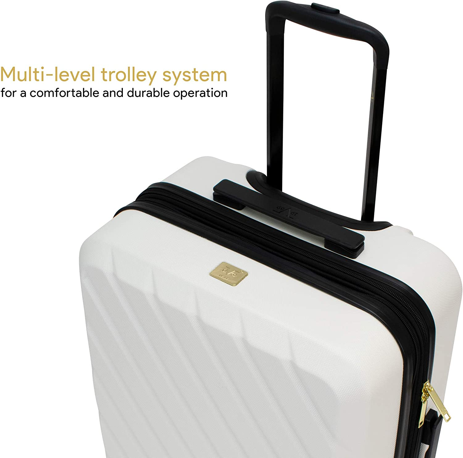 V19.69 Italia 3 Piece Expandable Hardside Spinner Luggage Set with TSA Lock Bianco White