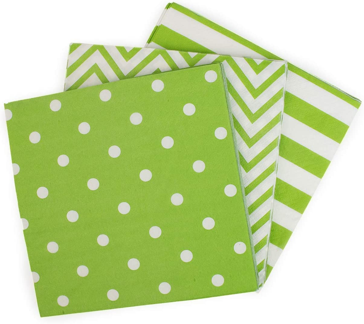Youmewell Disposable Striped Chevron Polka Dot Green Paper Party Napkins 60 Count