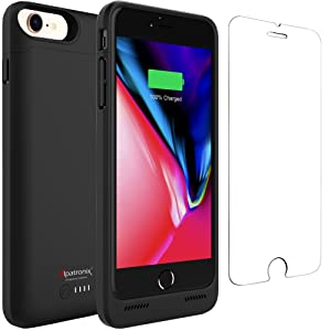 Battery Case for iPhone 8/7, Alpatronix BX190 3200mAh Slim Portable Protective Extended Rechargeable Charger Cover w/Qi Wireless Charging Compatible w/ iPhone7, iPhone8 Juice Bank Power Pack - Black