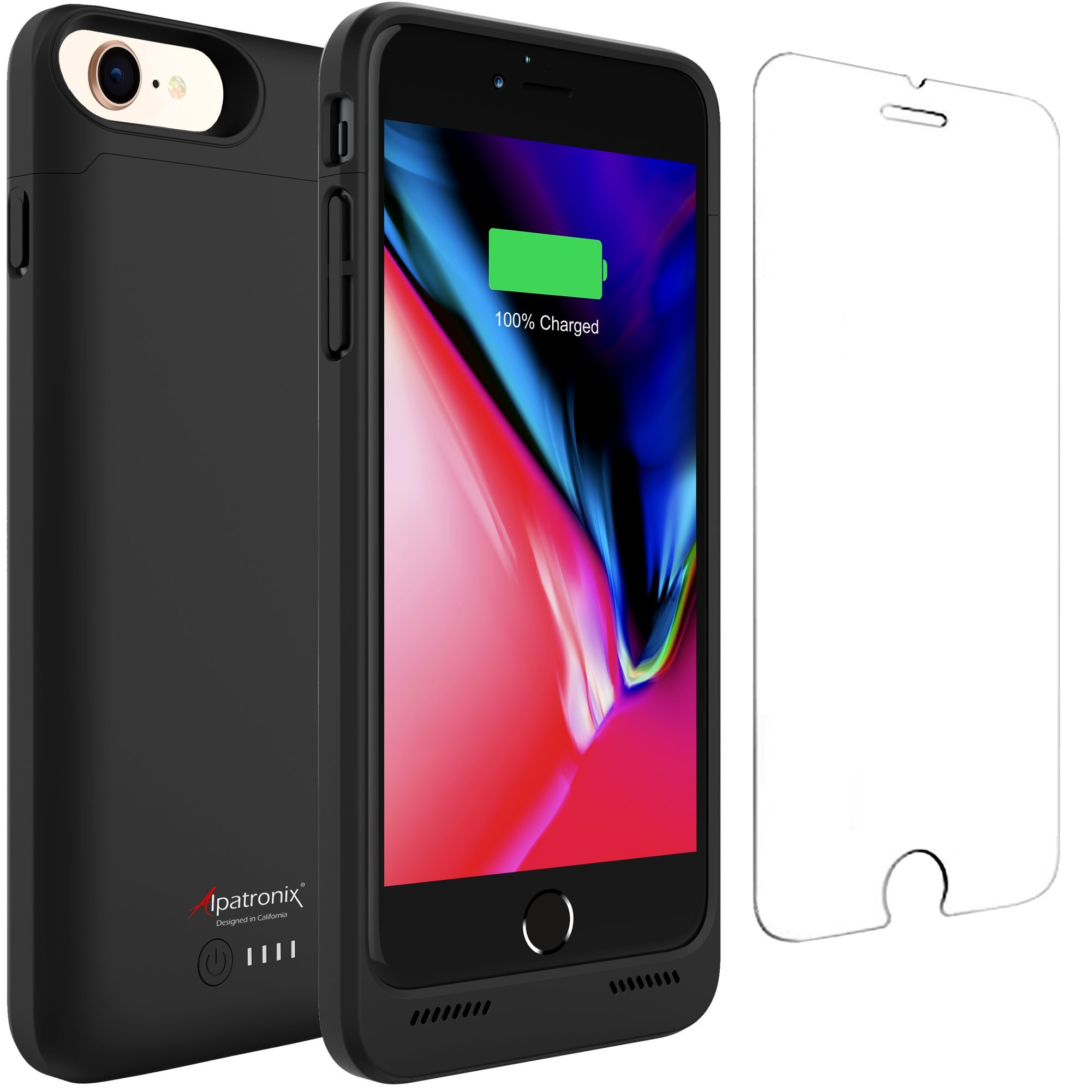 iPhone 8/7 Battery Case Qi Wireless Charging Compatible, Alpatronix BX190 4.7-inch 3200mAh Slim Rechargeable Extended Protective Portable Charger for iPhone 8 & iPhone 7 [Apple Certified Chip] - Black