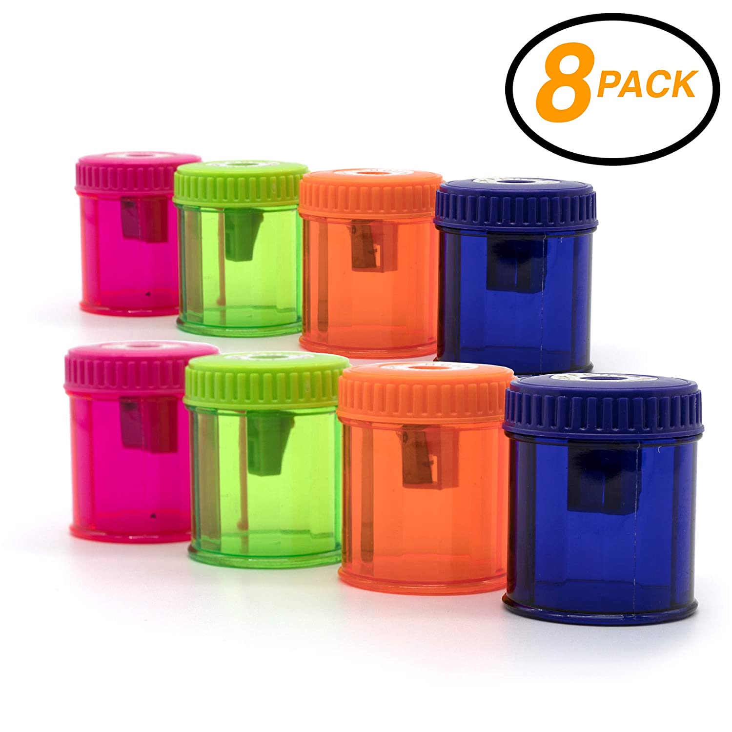 Emraw Single Hole Manual Pencil Sharpener with Round Receptacle to Catch Shavings for Regular Sized Pencils and Crayons Designed in Brightly Colored Plastic -Great for School, Home & Office (8 Pack) 3161
