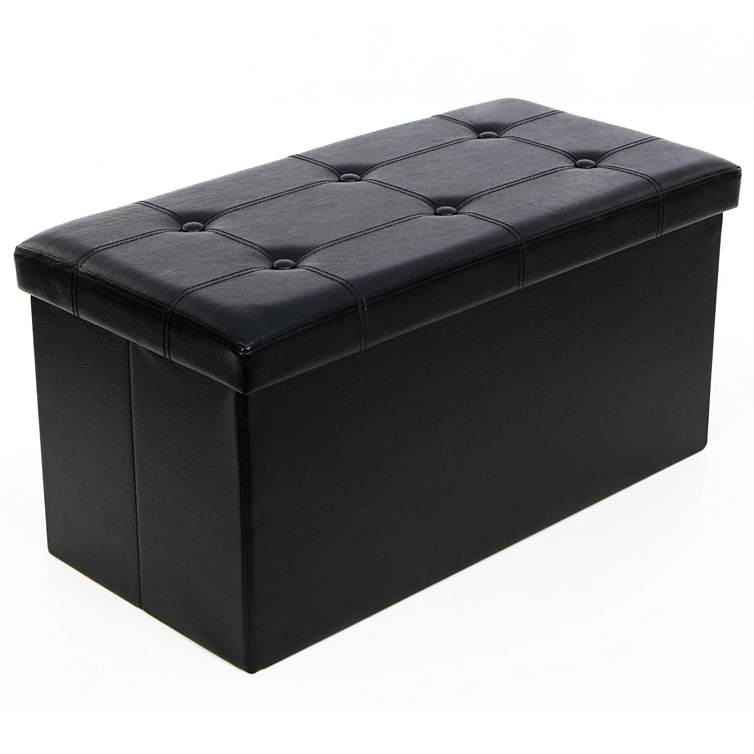 SONGMICS Folding Storage Ottoman Coffee Table Foot Rest Stool, Faux  Leather, Black ULSF105 - Storage Ottoman Amazon.com