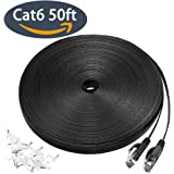 Cat 6 Ethernet Cable 50 ft, Flat Wire LAN Rj45 High Speed Internet Network Cable Slim with Clips, Faster than Cat5e/Cat5 with Snagless Connectors for PS4, Xbox one, Switch Boxes, Modem, Router-Black