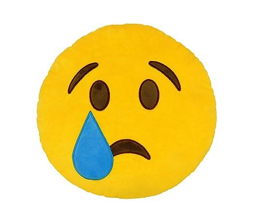 557317A Cojín emoji cara con lagrima color amarillo ø 34 cm ...