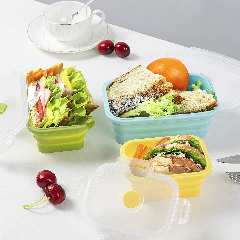 765 ml ME.FAN Faltbare Silikonsch/üsseln tragbar erweiterbare Lebensmittelbeh/älter-Set Silikon-Reisesch/üssel mit Deckel