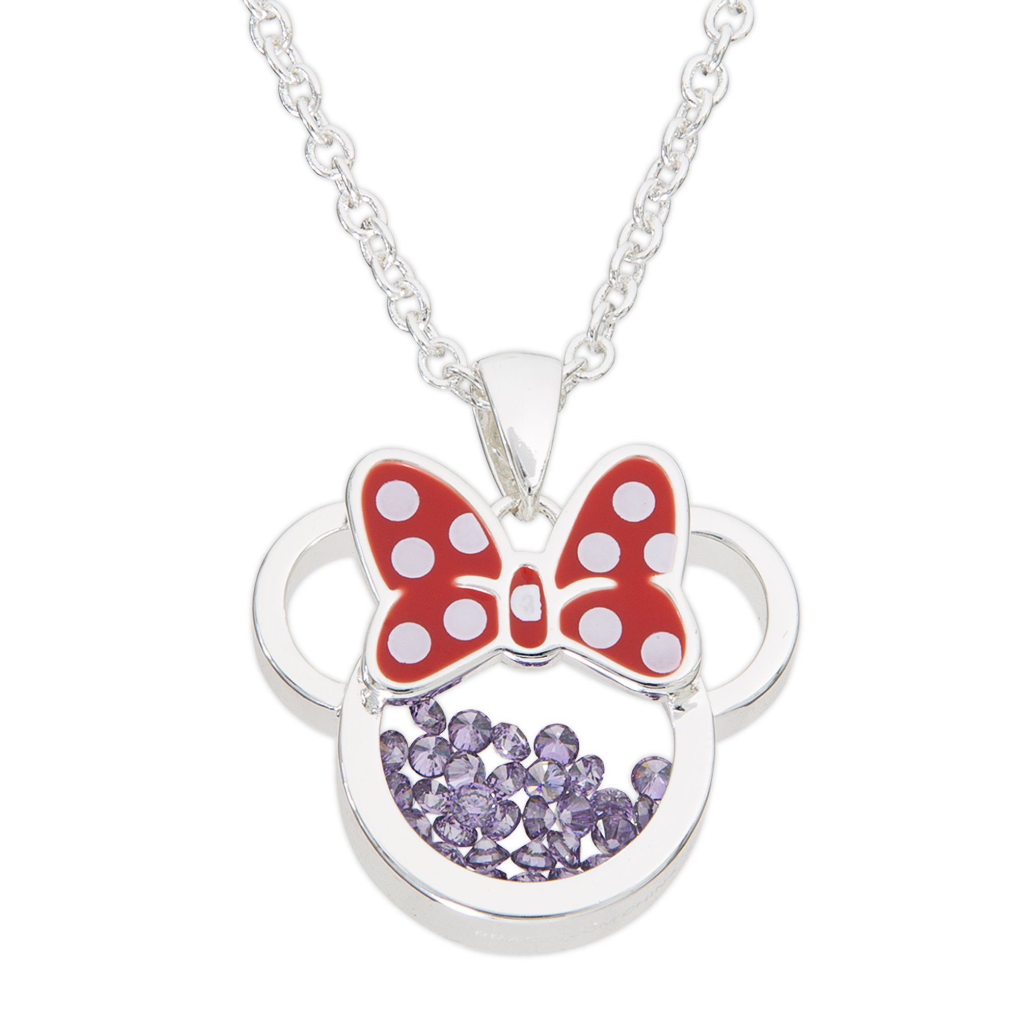 Disney Birthstone Women and Girls Jewelry Minnie Mouse Silver Plated February Amethyst Purple Cubic Zirconia Shaker Pendant Necklace, 18+2'' Extender