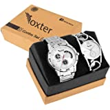 Foxter Set of 2 Addictive Silver Analogue Couple Watch for Men and Women