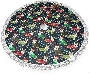 MSGUIDE Corgi Dog Christmas Tree Skirt 48 Inch Large Halloween Xmas Tree Decor for Holiday Party Decor Christmas Decoration